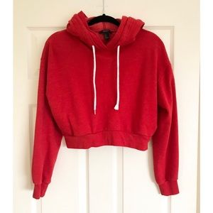 Forever 21 Red Crop Pullover Hooded Jacket Size M